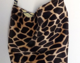 Tote shoulder bag, fake fur and wax