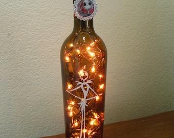 Nightmare Before Christmas Wine Bottle Lamp Standing Jack Skellington (orange lights) Halloween Lights, Halloween Party, Night Light
