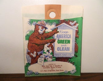 Vintage Smokey The Bear Paper Litter Bag