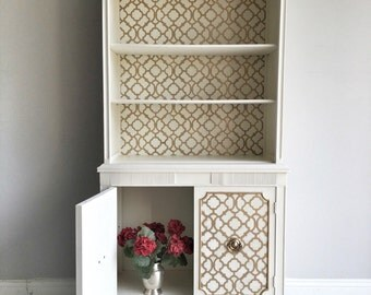 White Display Cabinet   Hollywood Regency Cabinet   White And Gold China  Cabinet   Shelving Unit