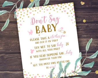 Don't Say Baby Game Instant Download, Pink and Gold Baby Shower Games Printable, Printable Baby Shower Decor DIY, Baby Girl, Glitter, PDF