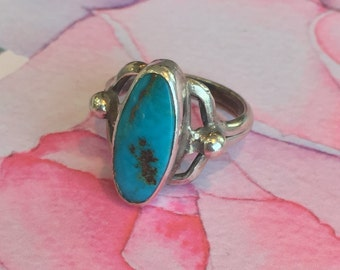 50% Off Oval Blue Turquoise Sterling Silver Ring- silver Jewelry