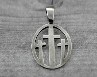 Oval Cross Tag- Sterling Silver