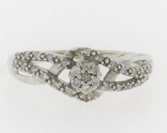 Intertwined Flower Diamond Ring-10k White Gold