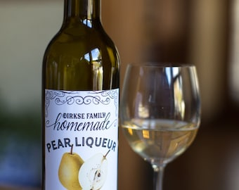 Customized Label - Pear Liqueur, Cordial, Pear Spirits, Pear Brandy, Perry, Peary - Label for Your Homemade Liqueurs & Wine