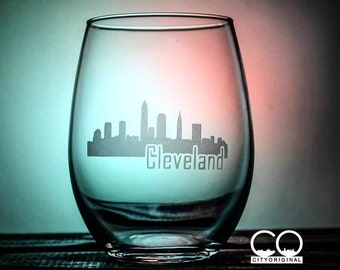 Cleveland Glass - This is CLE - Ohio - City Scape - Love My City - Skyline - Glassware - Wine Glass - Gift Ideas - Gifts for Her