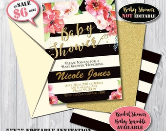 Self-Editing Watercolor Floral Baby Shower Invitation-Edit Your Invitation with Adobe Reader-Gold Shabby Chic-Flower Baby Shower Invitation