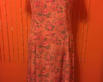Vintage pink floral rose print 1950's pink dress