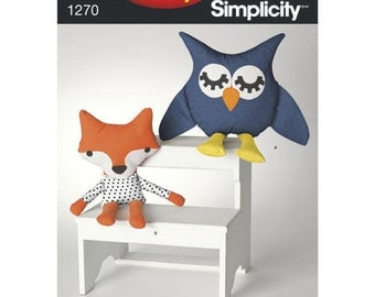 Sewing Pattern for It's So Easy Pattern 1270 Stuffed Owl and Fox, Simplicity 1270, Plush Toys, Stuffies,  EASY, Stuffed Fox, Stuffed Owl