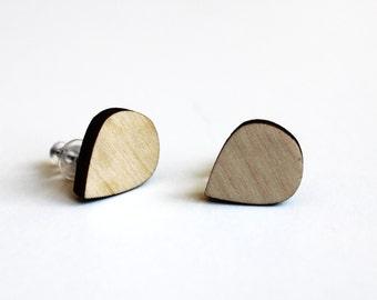 wooden earrings, natural earrings, natural jewelry, wooden earrings, drop earrings, wooden ear studs, simple earrings, ecological