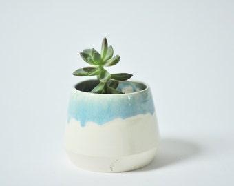 Planter with Drippy Glaze Details - Light Blue