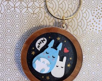 Handmade Sleeping Totoro Papercut Pendant