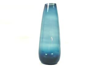 Vintage glass vase, cone vase, blue green