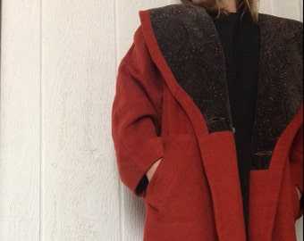 SALE WAS 60 Vintage 1980s Coat // Earth Tone Rust Burnt Orange // Womens Coat // Donnybrook // Made in usa // wool // s m l // trench