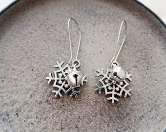 Silver Snowflake Earrings | Holiday Earrings | Jingle Bell Earrings