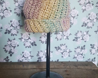 Multicolor Hat with Pom Pom