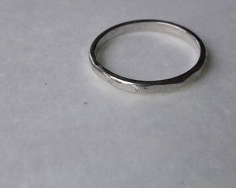 Small Silver Hammered Stack Ring