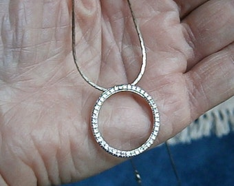 Sterling Circle Pendant with Diamond Chip