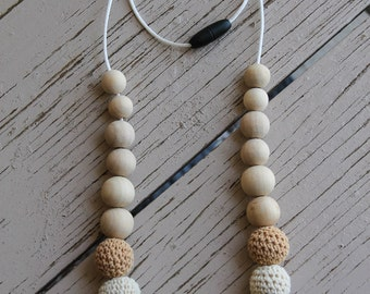 Brown and Cream Crochet Wood Bead Necklace, Long Wood Bead Necklace, Teething Necklace, Neutral Colours
