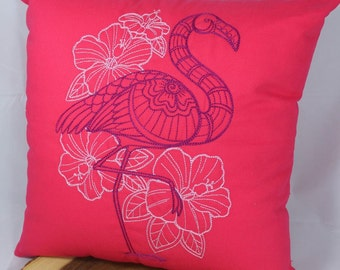 "Embroidered Flamingo Pillow - 16""x16"""