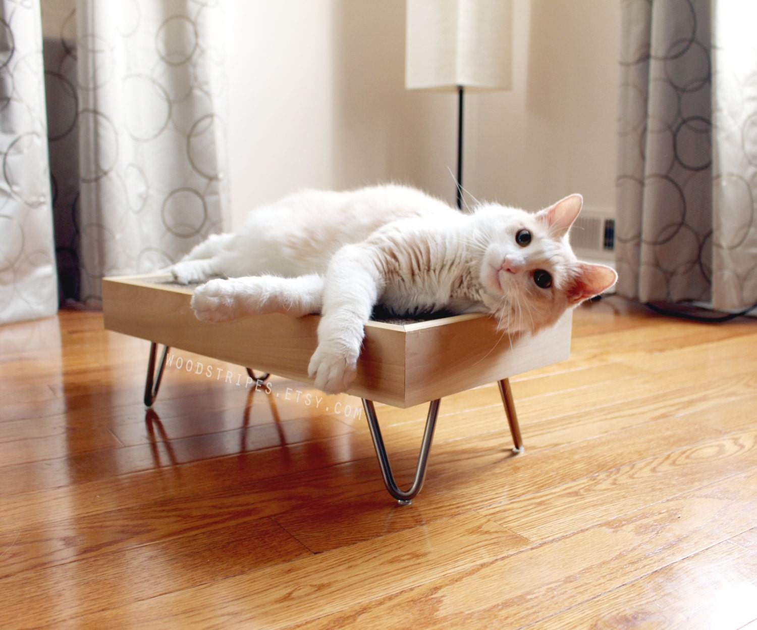 Modern Cat Furniture Wood Perch Pet Bed Mid Century By