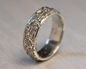 mountain ring organic wedding ring mens viking ring sand cast band silver - Norse Wedding Rings