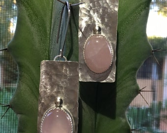 Rose Quartz Sterling Silver Hammered Earrings
