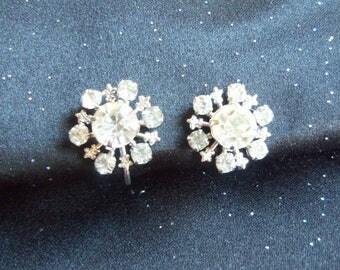 Rhinestone Earrings - Rhinestone Screw Back Earrings - Vintage Rhinestone Earrings