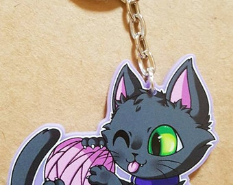 Playful Kitty Cat Keyring