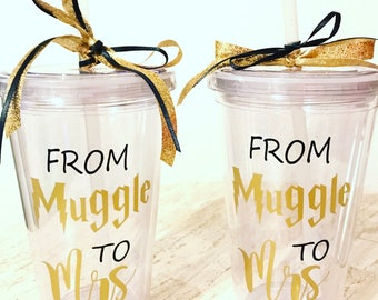 From Muggle To Mrs Tumbler With Straw / Harry Potter