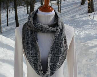 Crochet Infinity Scarf, Circle Scarf, Gray Metallic Scarf, Long Infinity Scarf, Winter Fashion Accessory