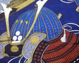 306: Japanese vintage kimono men's jyuban undercloth samurai helmet kanji dedication blue navy brown wool