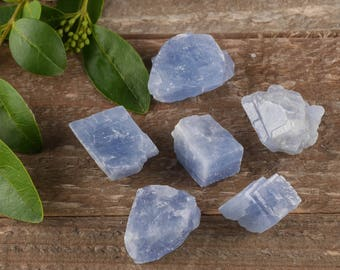Six Small Blue CALCITE Crystals - 6 Piece Lot - Raw Crystal Specimen, Healing Crystal, Healing Stone, Chakra Crystal, Energy Crystal E0436