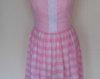 "1950s cotton summer dress, pink gingham by California size 36"" Bust (12)"