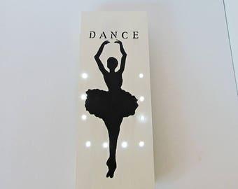 Ballerina Lamp, Ballerina Light, Ballerina Silhouette, Ballerina Sign, Dance Sign, Wood Dance Sign, Wood Wall Light, Ballerina Gift