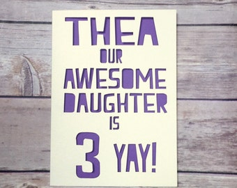 Personalised Daughter Birthday Card, Age Card, Childrens Birthday, Kids Number Card 1st 2nd 3rd 4th 5th 6th 7th 8th 9th, Son Card