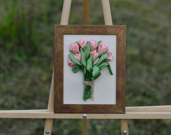 Bouquet of tulips, Tulip, Flower, Picture Embroidery Ribbon