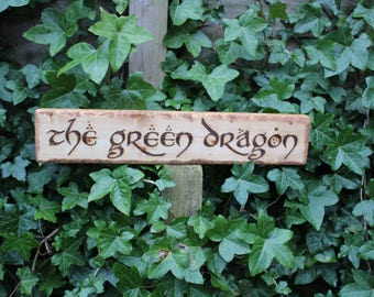 Lord of the Rings Location Signs Rivendell Hobbiton Green Dragon The Shire Rustic Signs Middle Earth Inspired Places Inside Outside Wedding
