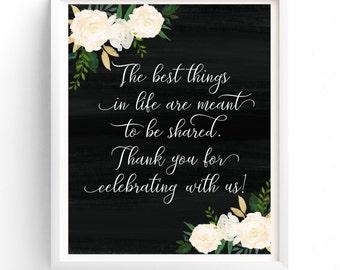 Thank You Sign-PRINTABLE, Wedding Sign, Reception Sign, Guest Sign, Printable Sign, Custom Sign Wedding, Thank You Poster