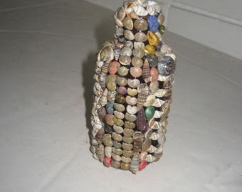 1930s Antique Brown Bottle totally covered in Small Shells/Seashells, Beach Decor