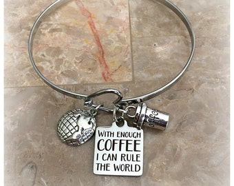 With Enough Coffee I Can Rule The World Charm Bracelet, Stainless Steel Bracelet, Coffee Lover Gifts, Coffee Charm Bracelets, Coffee Bangle