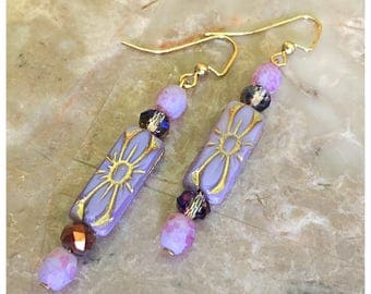 Rectangle Lavender Flower Czech Bead Earrings, Dangle Earrings, Czech Bead Earrings, Purple Earrings, Beaded Earrings, Boho Earrings