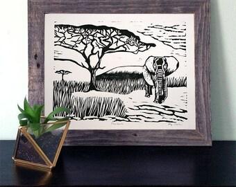 Tanzania Linocut Print