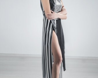 Long stripe top with slits