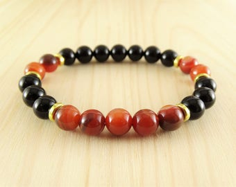 Black onyx bracelet Mens bracelet Bead bracelet Mens gifts for boyfriend gifts Agate bracelet Mens braclet Stackable bracelets Men yoga gift