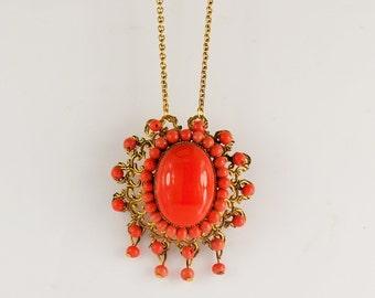 Large Faux Coral Necklace