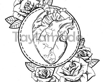 The art of life- Anatomical Heart with Roses