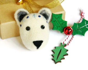 Polar Bear Brooch, Needle Felted Polar Bear Brooch, Bear Jewellery, Arctic Polar Bear, Winter Jewellery, Winter Brooch, Holiday Gift Ideas