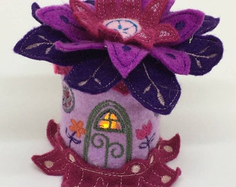 Flower Fairy Led Tealight Lantern. Tealight Holder. Felt Fairy house. Led Tealight House.  Fairy Tealight holder. 1 LED Tealight included