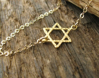 Gold Star of David necklace, Jewish jewelry, dainty necklace, Jewish star necklace, magen David necklace, delicate necklace, judaica jewelry